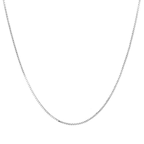 - 14K Yellow or White or Rose/Pink Gold 0.80mm Shiny Classic Box Chain Necklace for Pendants and Charms with Lobster Clasp (13