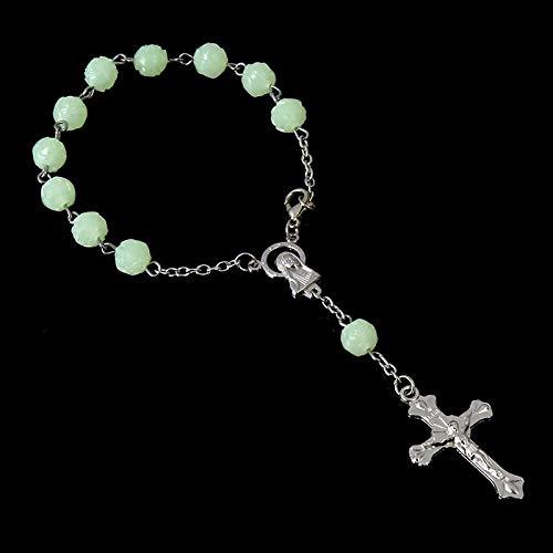 - Luminous Rosary Silver Bracelets | Love Rosary Imitation Pearl Bracelets | Children's Communion Baby Baptism Favorable Bracelets (12 Pieces)