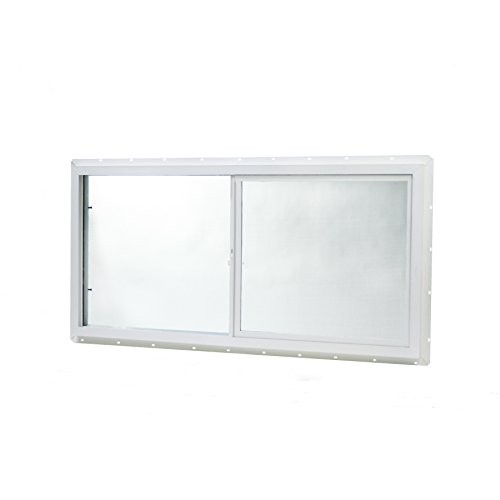 Park Ridge VUSI4824PR Vinyl Utility Slider Insulated Glass Window 48 Inch x 24 Inch, White by Park Ridge Products