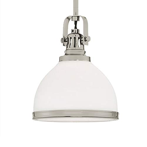 Langdon Mills 10614 Fenway Pendant Light, Brushed Nickel with Frosted Glass Shade