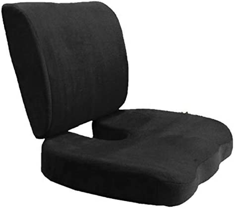 Bookishbunny Set of 2: Seat Cushion Coccyx Orthopedic Memory Foam Lumbar Support Pillow Best Premium Cushions for Sciatica Pain Relief and Lower Back Pain Relief - Black