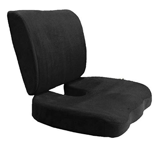 Bookishbunny Set of 2: Seat Cushion Coccyx Orthopedic Memory Foam Lumbar Support Pillow Best Premium Cushions for Sciatica Pain Relief and Lower Back Pain Relief – Black