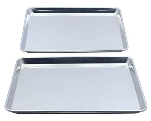 Checkered Chef Quarter Sheet Pan Twin Pack - 2 Baking Sheets 9 ½ x 13 Inches. Aluminum Rimmed Cookie 1/4 Sheet Pans For Baking