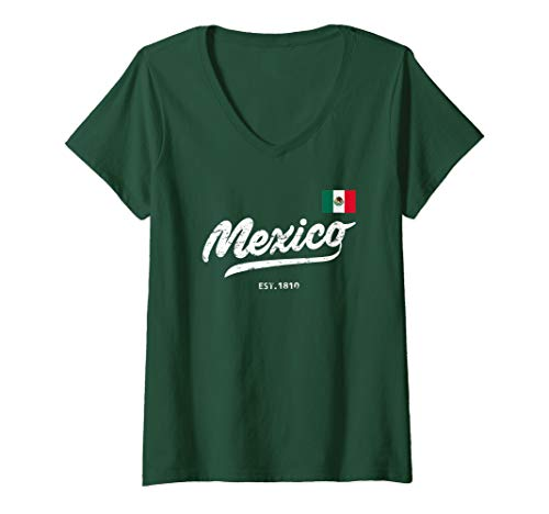 Womens Mexico Football Retro Vintage Distressed Style  V-Neck T-Shirt