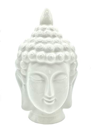 FICITI G311908 White Ceramic Buddha Head Statue