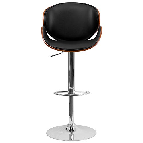 Nual_shop Walnu Bentwood Adjustable Height Bar Stool with Curved Black Vinyl Seat & Back Comfortably Padded ()