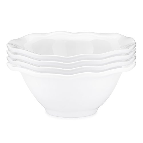 Q Squared Ruffle BPA-Free Melamine Dip Bowl, 5-Inches, Set of 4, Luxe White