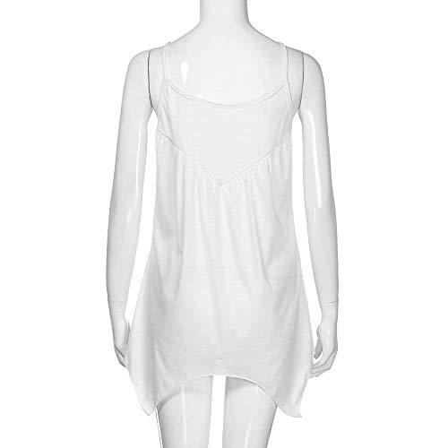 Rotondo Moda Unico Chic Camicetta Sleeveless Monocromo Spalline Camicie Tops Donna Bianca Senza Elegante Ragazza Bluse Irregular Estivi Pieghe Pizzo Scavare Giuntura Fionda Collo HztqzO