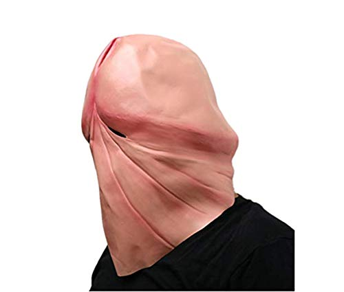 Funny Natural Latex Penis Dick Head Full Face Cosplay Costumes Adult Halloween Party Accessories Props Masks Helmet Decor