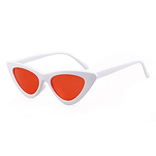 Clout Goggles Cat Eye Sunglasses Vintage Mod Style Retro Kurt Cobain Sunglasses (White/Red, ()
