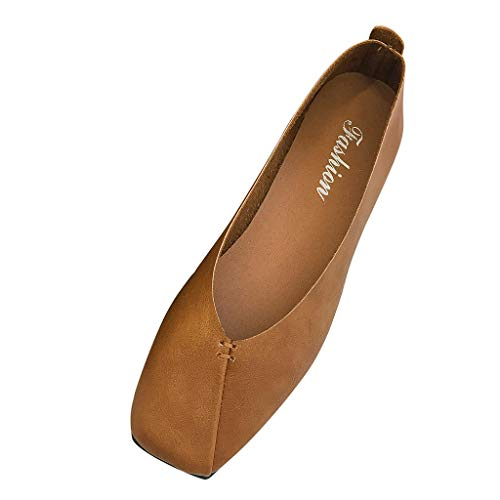 Xinantime Women's Summer Sandals Closed Pointed Toe Buckled Strap Ballet Flat Ankle Strap Shoes Square Flat Shoes Brown