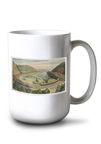 Lantern Press Altoona, Pennsylvania - The Famous Horseshoe Curve (15oz White Ceramic Mug)