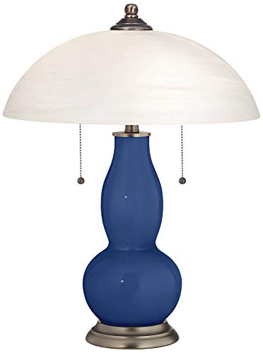 Monaco Blue Gourd-Shaped Table Lamp with Alabaster Shade - Color + Plus (Monaco Contemporary Table Lamp)