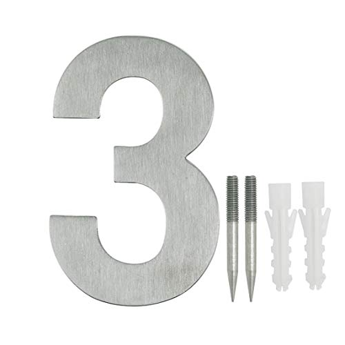 NUZAMAS Door Numbers Plaques 3, Stainless Steel Hotel House Address Plaque Digits Plate Signs Street Numbers, Wall Mounted, 10.8cm Width 15cm High, Installation Kit Included by NUZAMAS