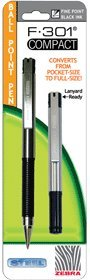 Zebra F-301 Compact Ballpoint Black .7mm 27411 Pack Of 6
