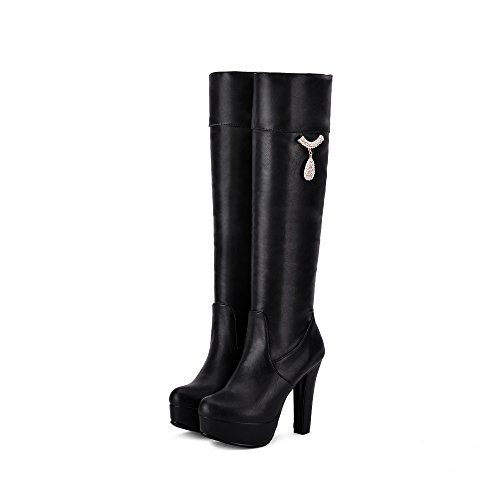 Women Knee Block Round Black Black Boots Brown Heels on Women Laides Slip JIEEME high Shoes Winter Toe xHwfn67YqR