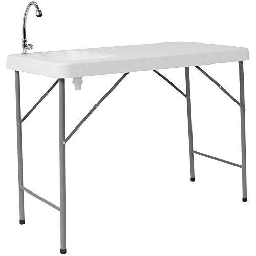 (Flash Furniture 23''W x 45''L Granite White Plastic Folding Table with Sink - DAD-PYZ-116-GG)