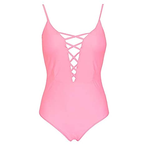 Yanhoo costume da bagno Donna Costumi Bikini Estate Push-up Puro Monokini Costumi da Bagno Piscina Vacanza Bechwear Intero da Donna Costume da Bagno Push-up in Bikini M, Rosso