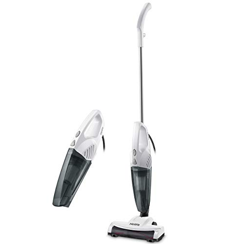 HoLife Stick Vacuum, 2 in 1 Handheld Vacuum Cleaner with 15KPA Powerful Suction, Ultra Lightweight Bagless Corded Handheld Vac, Rolling Brush, HEPA Filtration (White) ()