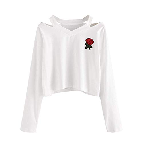 (SmarketL Women's Sweatshirt Long Sleeve Sweater Rose Print Casual Top,Green,X-Large)