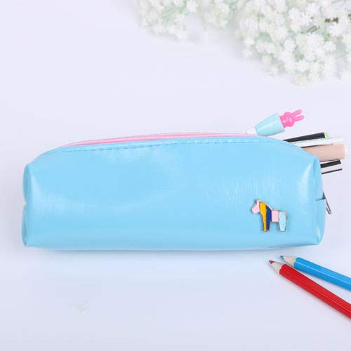 1Pcs Cute PU Leather Multi-Function Pony Pencil Case Storage Bag Gift Stationery (Color - Blue)