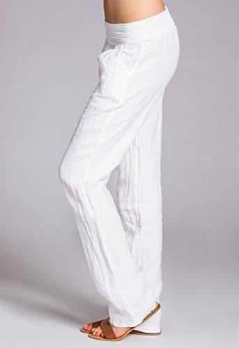 Khs020 Bianco Pantaloni Lino Di Donna Caspar aqOdwvw