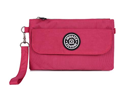 With Big Cell Bag Strap Wristlet Handbag Waterproof Layers Shoulder Nylon Phone Dual Purse Pouch hot Clutch Zipper Pink 17fwqC
