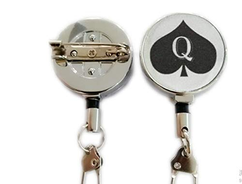 Queen of Spades Necklace Pendant Jewelry Charm Hotwife BBC,Retractable Badge Holder Carabiner Reel Clip On ID Card Holders