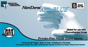 Innovative Healthcare 197200 Glove, Exam, Medium, Nitrile, Chemo, Non-Sterile, Pf, Textured, Aqua Blue (Pack of 1000)
