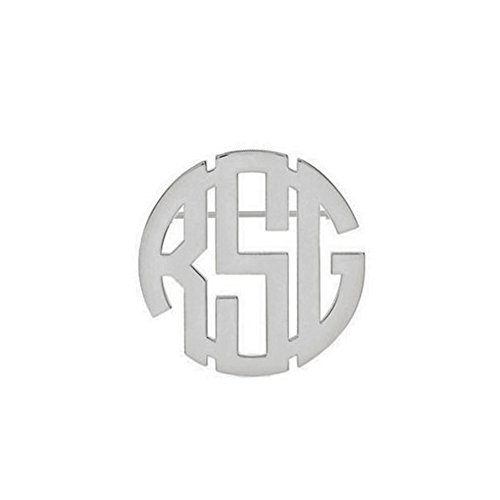 Ouslier 925 Sterling Silver Personalized Black Monogram Brooch Pin Custom (Lotus Flower Cartouche)