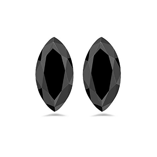 Mysticdrop 0.42-0.60 Cts of 6.0x3.0 mm AAA Marquise Cut Fancy Black (2 pcs) Loose Diamonds