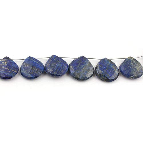 GemAbyss Beads Gemstone 1 Strand Natural Lapis Lazuli Faceted Briolettes - Heart Shape Beads - 22mmx19mm-25mmx23mm 6 Inches Code-MVG-13283 ()