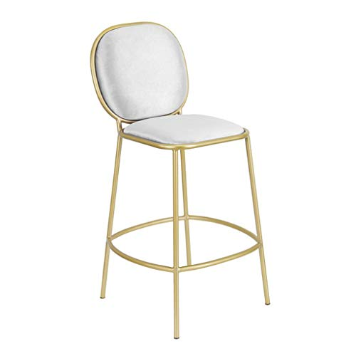 (29 Inch Metal Bar Stools - Suede Seat Cushion Barstools Chair Dining Chairs for Kitchen Island or Counter | Pub | Café, Gold Metal Finish Max. Load 200 kg)