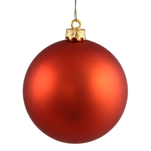Vickerman Matte Finish Seamless Shatterproof Christmas Ball Ornament, UV Resistant with Drilled Cap, 24 per Bag, 2.4