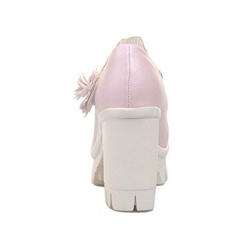 AllhqFashion Mujer Hebilla Material Suave Puntera Cerrada Puntera Redonda Tacón Alto Sólido De salón Rosa