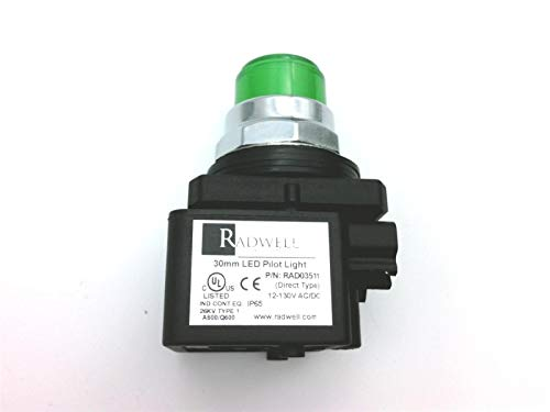 RADWELL VERIFIED SUBSTITUTE 800T-QH2G-SUB Replacement of Allen Bradley 800T-QH2G, Pilot Light - 30MM Pilot Light, Universal LED, 12-130V AC/DC, Green- (Contact Block NOT INTERCHANGELABLE with OEM)