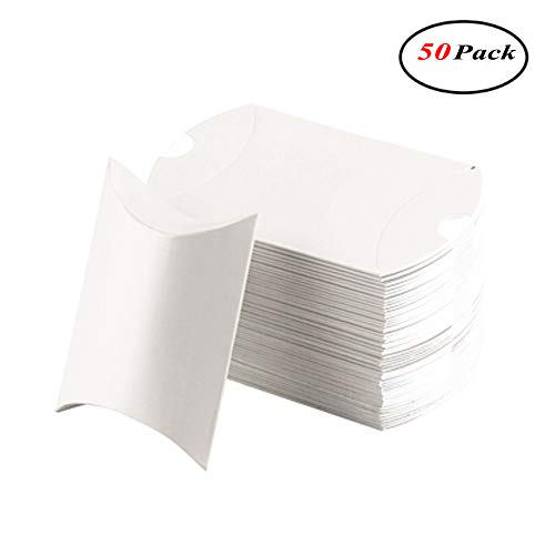 Okdeals 50pcs Pillow Paper Candy Box Wedding Favors Baby Party Bread Gift Bag (White)
