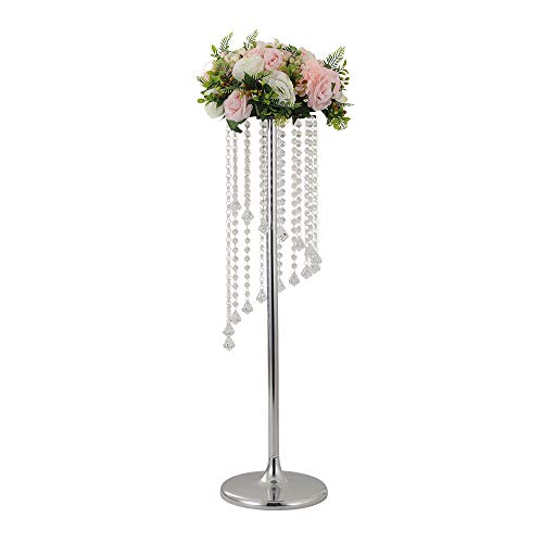 LANLONG 27.5'Tall Wedding Table Centerpiece, Candle Holder, Candlestick, Road Lead Flower Stand, Wedding Home Christmas Decoration Christmas Decor Decorations for Living Room (Silver, 35.4')