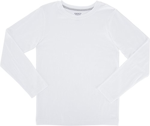 Boys Long Sleeve Crewneck T-shirt (French Toast School Uniform Boys Long Sleeve Crewneck T-Shirt, White, 6)