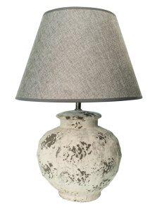 Tischlampe Im Used Look Mit Fuss Aus Weisser Keramik Und Grauem Lampenschirm Von Housevitamin 34