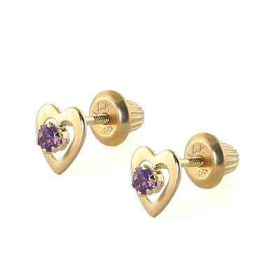 Kids 14K Yellow Gold Genuine Amethyst Heart Stud Earrings - February Birthstone