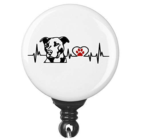 Cute Pitbull Dog Heart Line Heartbeat Retractable Badge ID Reel For Pit Bull Dog Owners