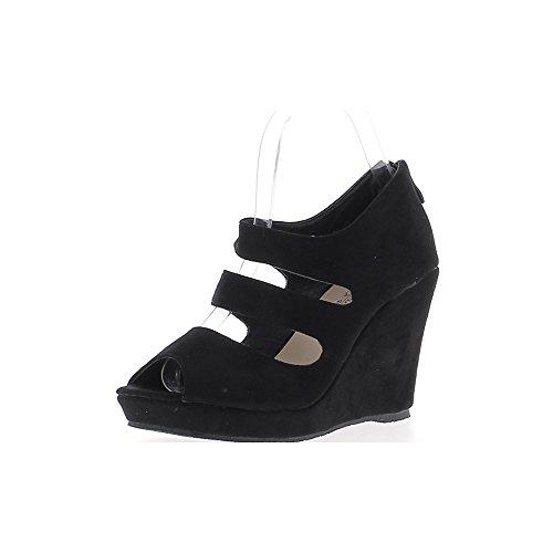 Sandales compensées noires à talons de 10cm avec plateforme et brides