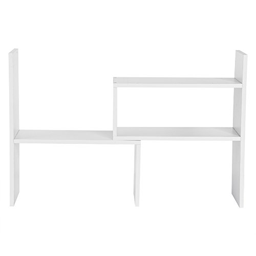 Desktop Storage Organizer, DIY Multi-Layer Adjustable Table Counter Top Display Rack Holder Shelf Natural Wood Bookshelf Home Office White, Black, Wood Color