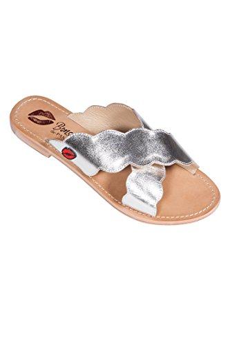 Silver Paname Baisers De Bons Vanessa Mules 1XOqw