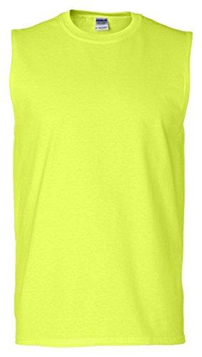 Gildan Ultra Cotton 50/50 Cotton/Poly Sleeveless T-Shirt Safety Green 2XL by Gildan