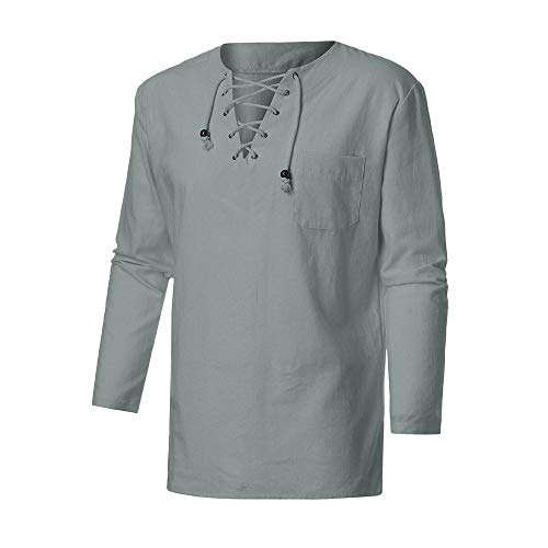 - Sunhusing Fashion Men's Retro Casual Cross Straps Lace-Up V-Neck Cotton Linen Long-Sleeve Shirt Top Blouse Gray