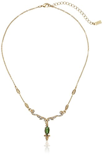 Downton Abbey Gold-Tone Crystal Belle Epoque Emerald Navette Drop Pendant Necklace, 16