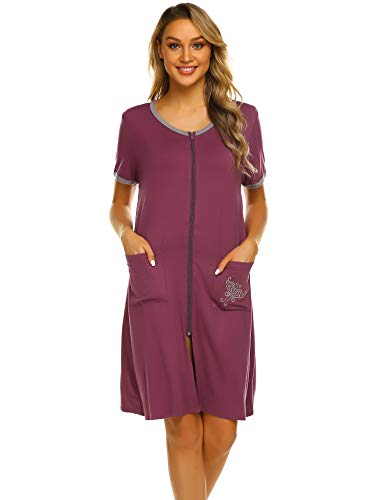 Ekouaer Women Round Neck Red Zipper Sleepwear Short Pajamas Robes ()