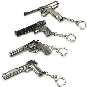 Mallofusa Pack of 4 Pcs of Mini Metal Shooting Gun Model Pendant Key Ring Sniper Rifle Pendant Key Ring Keychain (502#003#747#664)